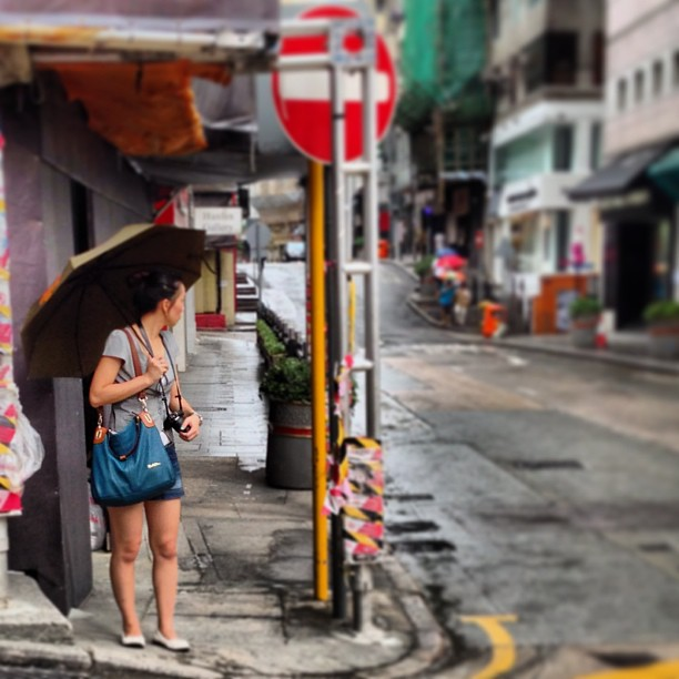 #lady with #umbrella on #sunday #morning in #central, #hongkong. #hk #hkig