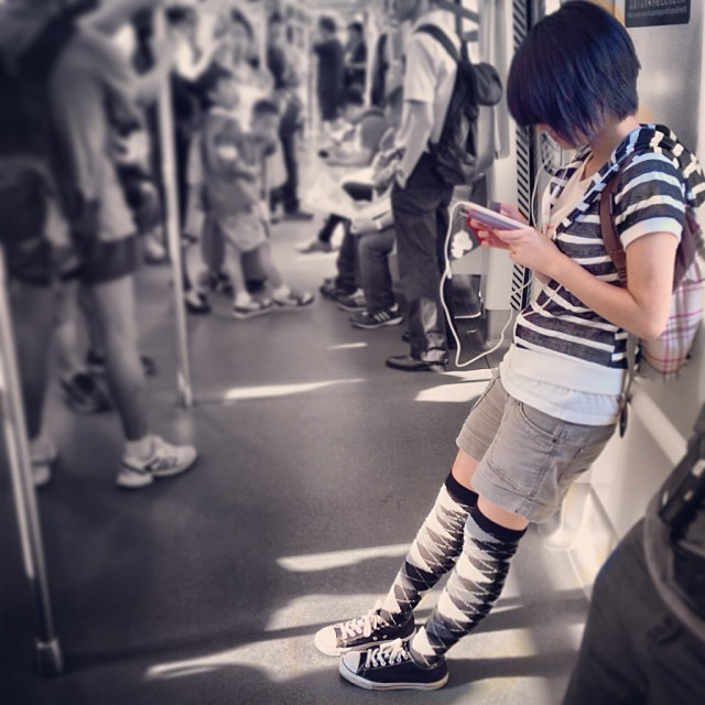 A #girl in black and white #stripes on the #MTR. #style #fashion #hongkong #hk #hkig