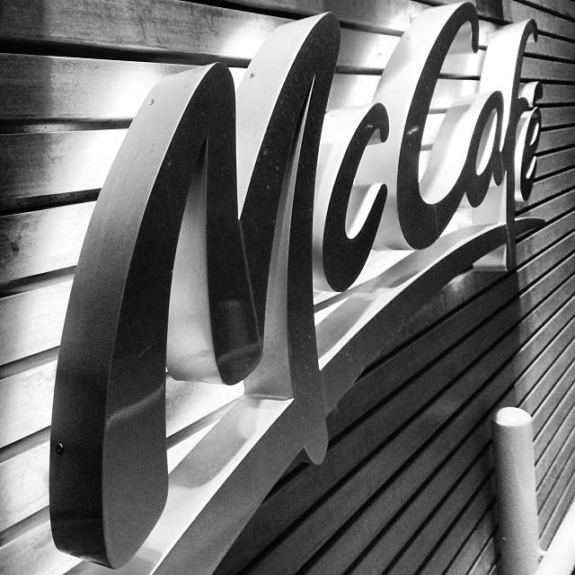 A #McCafé sign glows in the dead of night. #cafe #hk #hongkong #hkig #mono