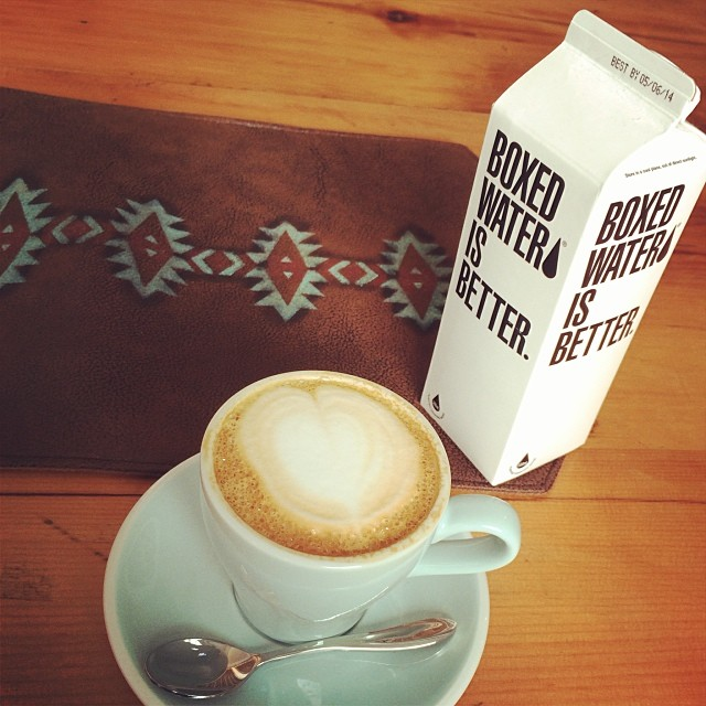 A #cappuccino and #carton of #water at #Lof10 #cafe in #PoHo. Yes, #boxedwater. #hongkong #hk #hkig