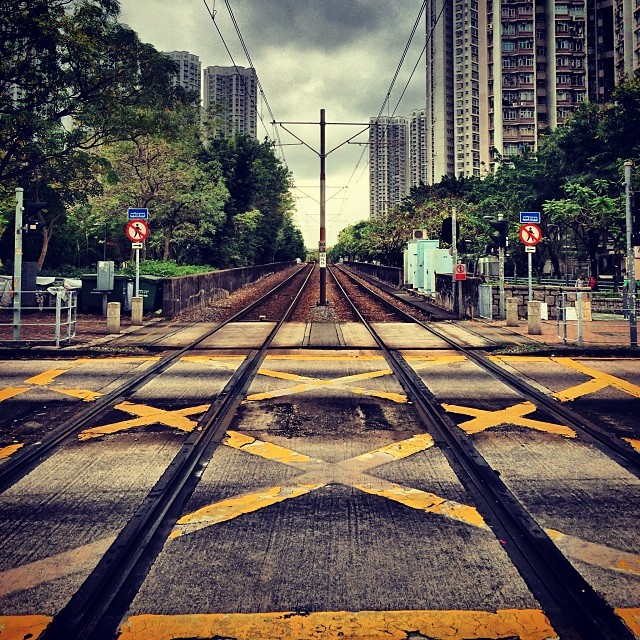#LRT #train #tracks at a #crossing in #TinShuiWai. #hongkong #newterritories #HK #hkig