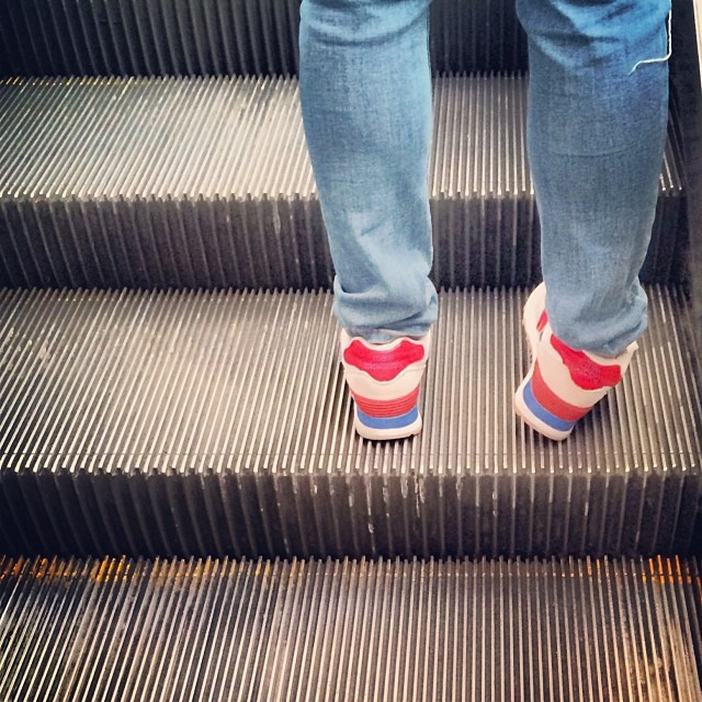 On the Central #Escalator - #legs, #jeans and #sneakers. #hongkong #hk #hkig