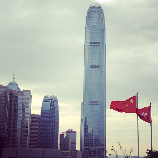 The East is Red - the #China #flag flutters in the wind with #IFC towering in the background. #hongkong #hk #hkig