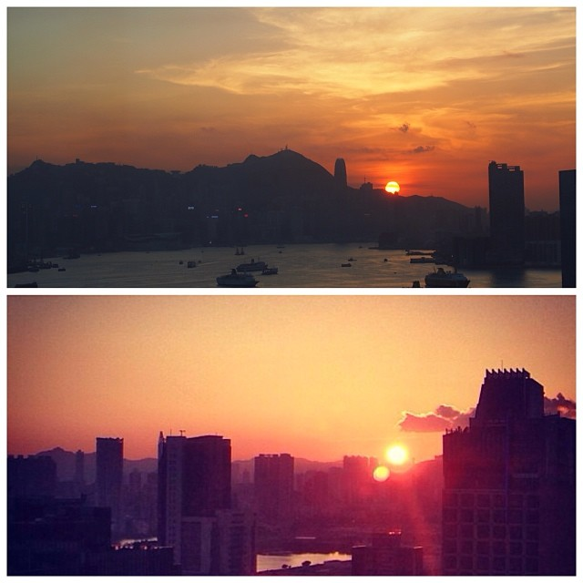 Top pic: in #winter, the #sun sets behind #hongkong island. Bottom pic: in summer / fall, #sunset is over #kowloon. #hk #hkig