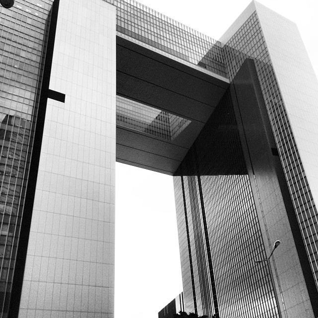 #buildings, #lines and #angles. The stunning #architecture of the #hongkong Central Government #Offices again. #mono #hk #hkig