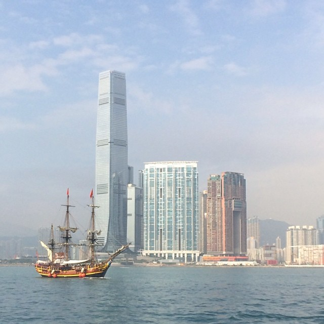 corporate raiders? #pirates of the #ICC? I think that's a #schooner #ship on #VictoriaHarbour. #boat #hongkong #hk #hkig