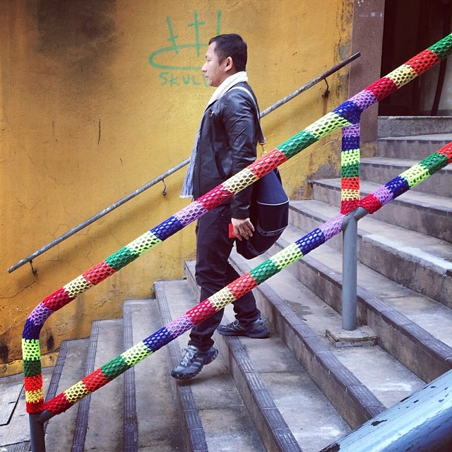 In #SheungWan, on the #PoundLane #steps, someone has #knitted a cover for the #handrails! #hongkong #hk #hkig #knitting