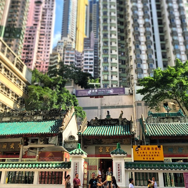 Hemmed in - #ManMoTemple in #sheungwan is surrounded by towering #buildings. #temple #hongkong #hkig