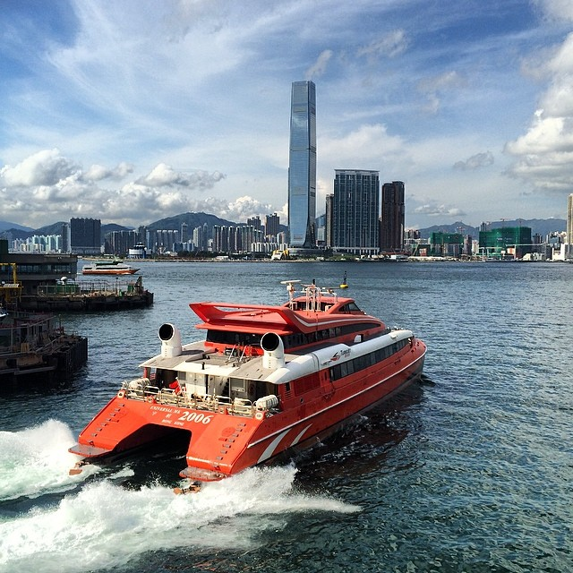 The #ferry to #Macau departing from #sheungwan with #Kowloon and #ICC in the background. #hk #hkig #hongkong