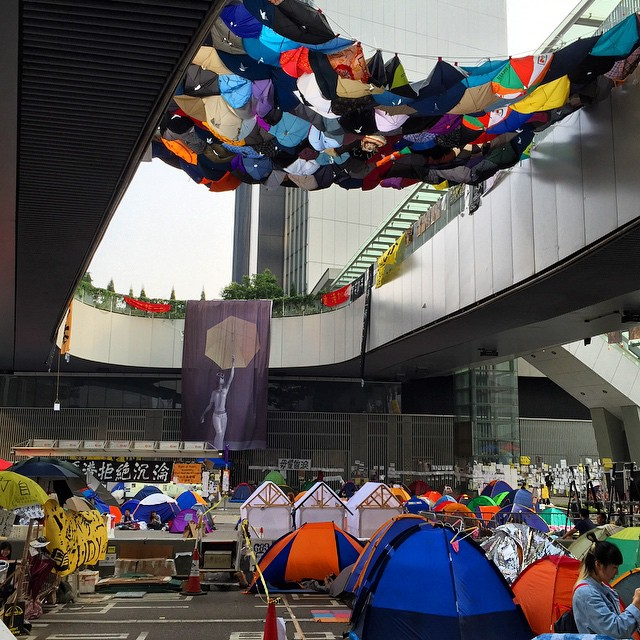 A #quilt made from #umbrellas hangs over the #OccupyHK protesters and their #tents in #Admiralty. #HongKong #hk #hkig #umbrellarevolution