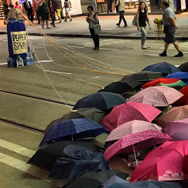 An #OccupyHK #art installation in #CausewayBay depicting a can of #pepperspray being used against #umbrellas. #umbrellarevolution #HongKong #hk #hkig