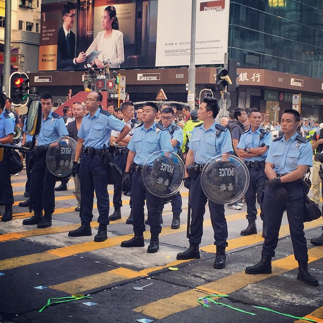 Day 20 of #OccupyHK - the clear out of #Mongkok began at 6am today. As I opined earlier, with the small amount of protesters in the morning, the #police (in #riot gear) met no resistance when clearing them out. #HongKong #hk #hkig #umbrellarevolution