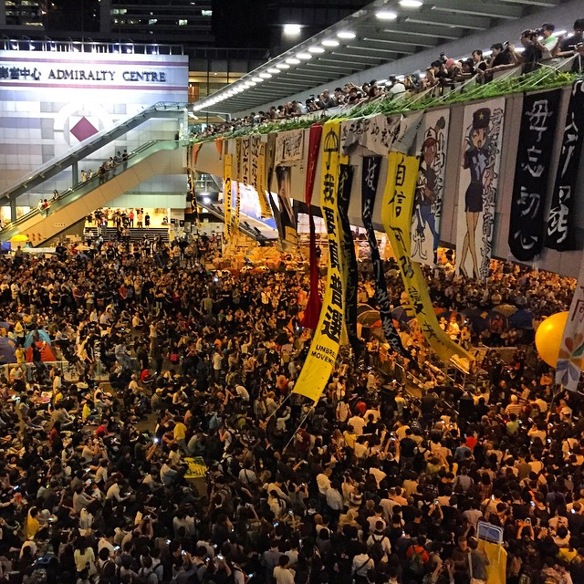 It's the one month anniversary of #OccupyHK. #Admiralty is well, packed. Is the #umbrellarevolution running out of steam? Maybe not. #HongKong #hk #hkig