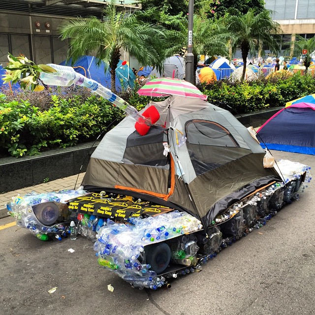 More #protest #art at #OccupyHK #Admiralty - a #tank made from a #tent and plastic water bottles. #HongKong #hk #hkig