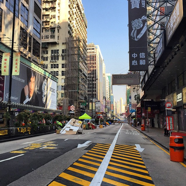 #NathanRoad in #Mongkok is still under the grip of #OccupyHK. So wonderful and strange to be wandering down the middle of the #road. #HongKong #hk #hkig