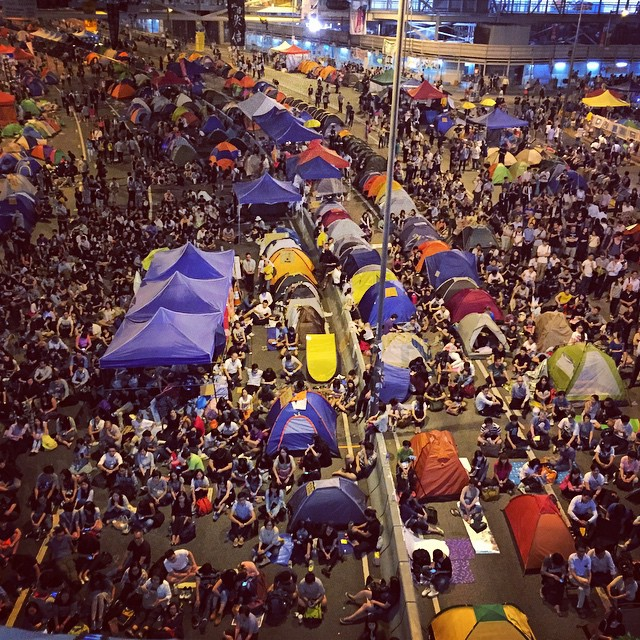 Night 17 of #OccupyHK - #Admiralty is packed with #protesters. #HongKong #hk #hkig #umbrellarevolution