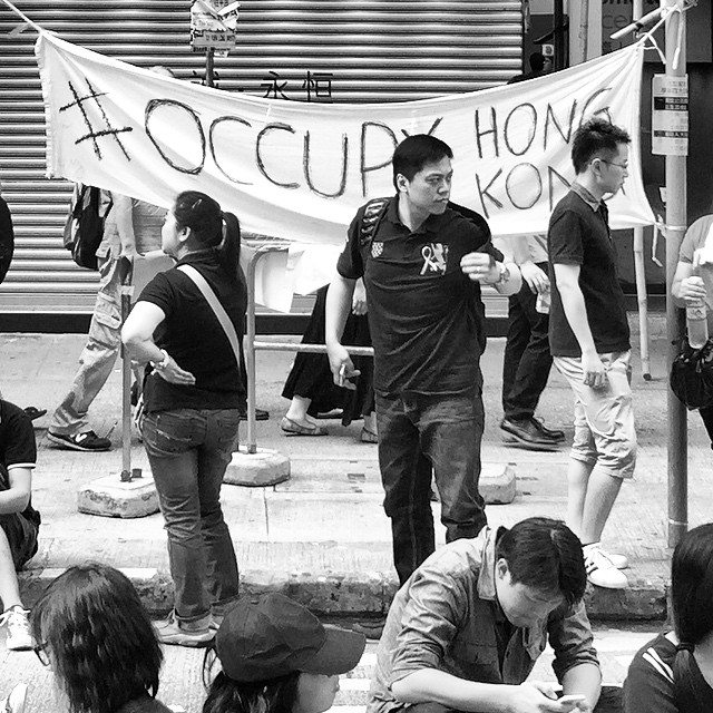 Occupy what? An #OccupyHK banner in #CausewayBay. #HongKong #hk #hkig #mono