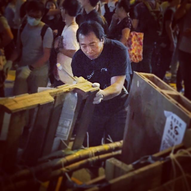 #OccupyHK #Mongkok #barricade upgrade in progress. #HongKong #hk #hkig