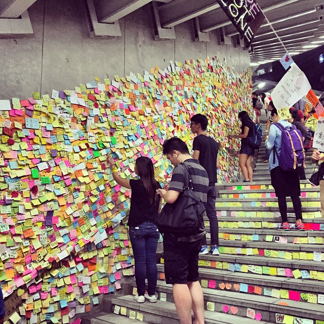 The famous #LennonWall at #OccupyHK #Admiralty. The spiral staircase has been overwhelmed by #postit notes from support messages. #HongKong #hk #hkig
