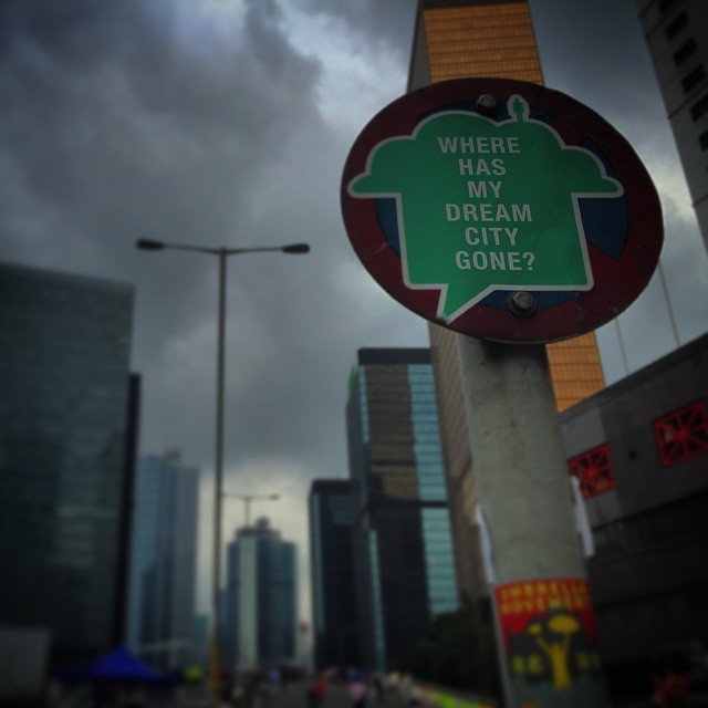 Where has my dream #city gone? - an #OccupyHK #sign laments on #stormy skies. #HongKong #hk #hkig