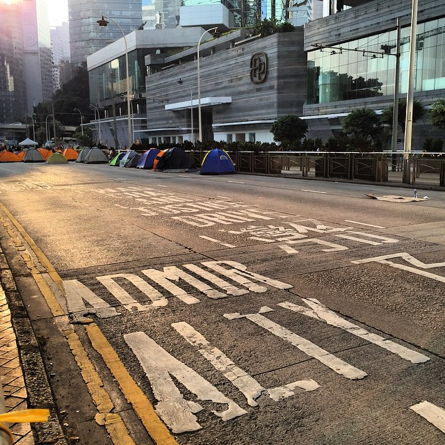 #sunrise on #Admiralty - #queensway remains occupied by #OccupyHK. #HongKong #hk #hkig