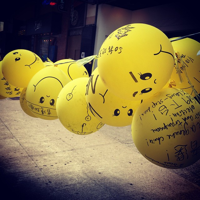 #yellow #balloons with messages of encouragement for #OccupyHK protestors strung up along #CausewayBay. #HongKong #hk #hkig