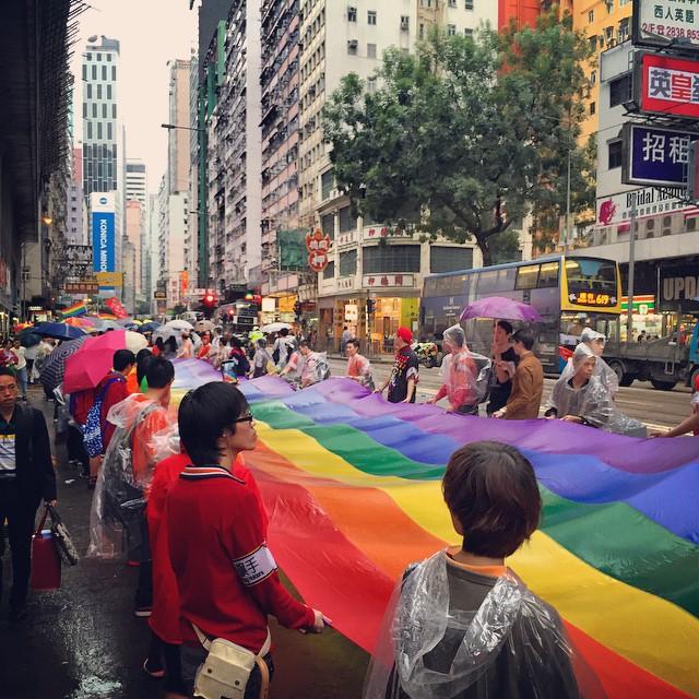 A #rainbow makes its way through #CausewayBay. Hey, it's the #HongKong #Pride #Parade 2014! #HK #hkig