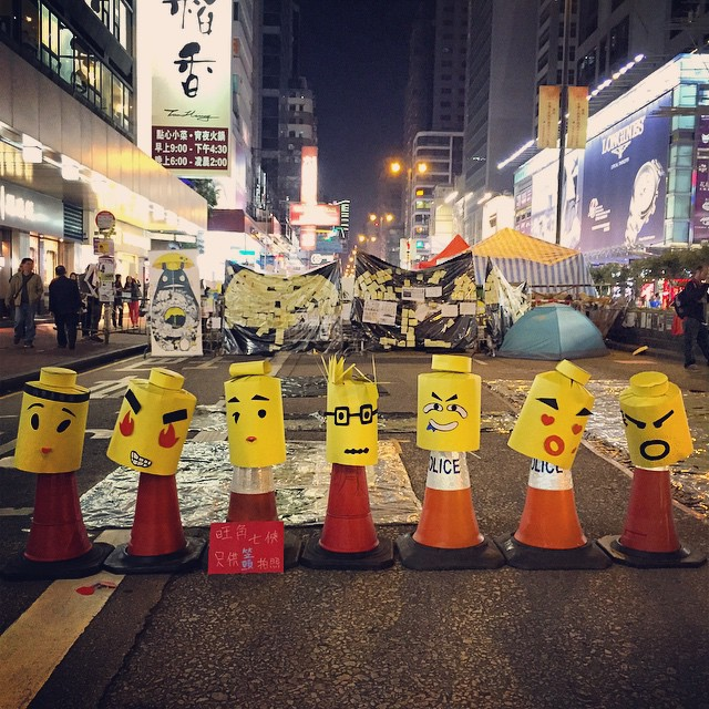 A row of #cardboard #Lego heads at #OccupyHK #Mongkok. #HongKong #hk #hkig