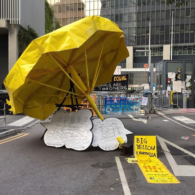 An appropriately named Big #YellowUmbrella #art installation at #OccupyHK #Admiralty. #umbrella #HongKong #hk #hkig