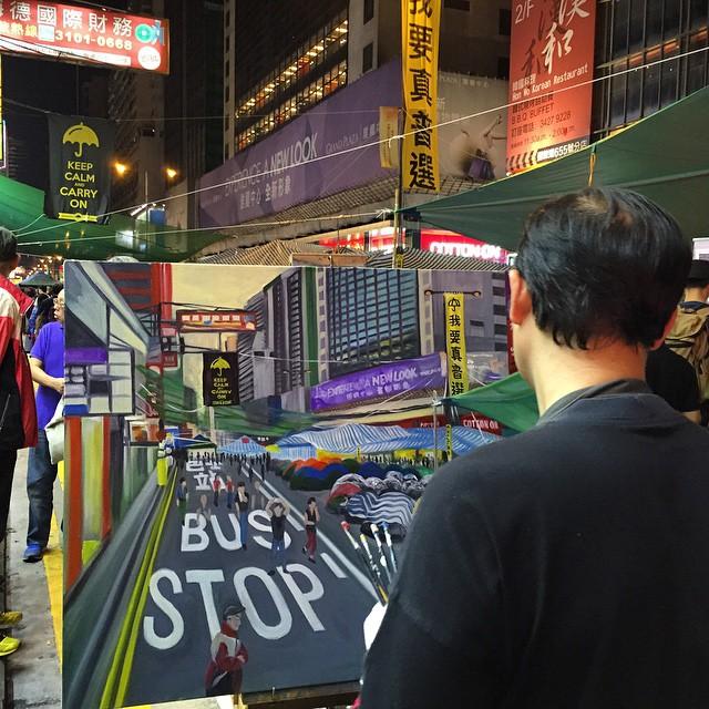 An #artist working on an #OccupyHK #Mongkok #painting, #oilpaint on #canvas. #HongKong #hk #hkig