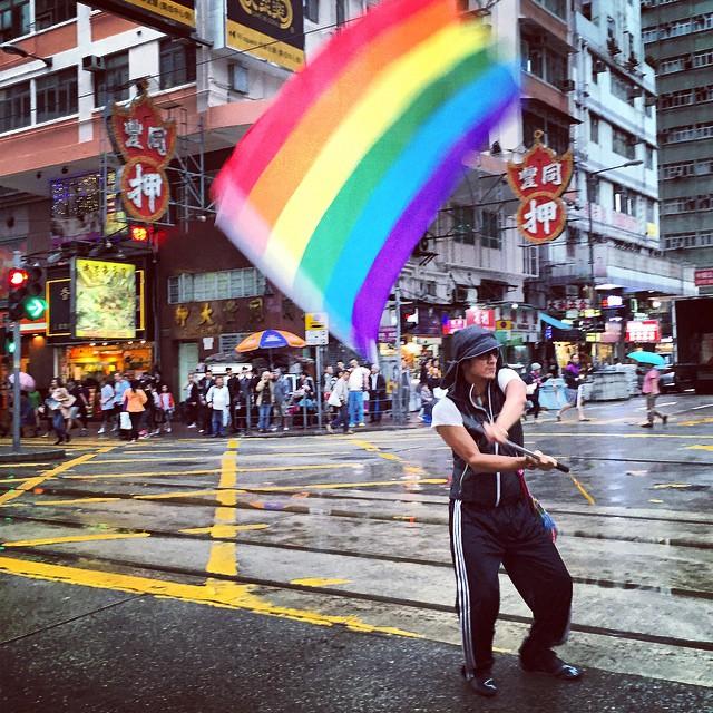 Fly the #rainbow #flag. The #HongKong #Pride #Parade 2014 is kinda wet due to the rain. #HK #hkig