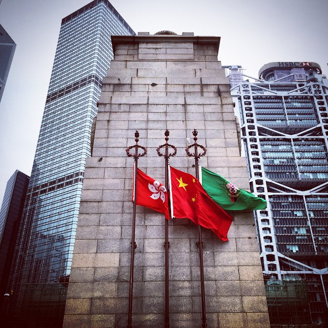 It's #RemembranceDay. In #HongKong the #Cenotaph flies the #flags and at the base (not pictured) lie any red paper poppies. It's the one day in the year people can cross the lawn and get close to the Cenotaph. It's Remembrance Day, so remember. #HK #hkig