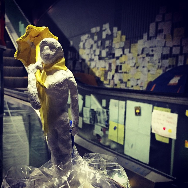 Mini #sculpture of an #OccupyHK protester with yellow #umbrella / #scarf at #Admiralty. #HongKong #hk #hkig