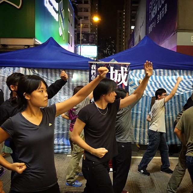 #Mongkok #martialarts? No, but it's free #OccupyHK #selfdefence classes on #NathanRoad. #HongKong #hk #hkig