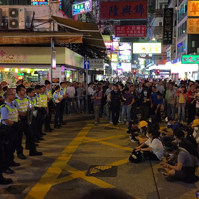 #OccupyHK #Mongkok #protesters and #police have a stand / sit off at the junction of #DundasStreet and #PortlandStreet. #HongKong #hk #hkig