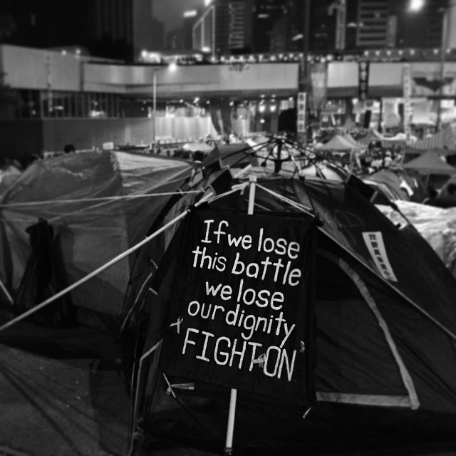 #OccupyHK battle sign at the protest #tent city in #Admiralty. #mono #HongKong #hk #hkig
