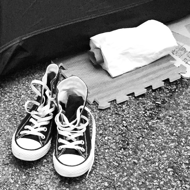Signs of life - #sneakers outside a tent at #OccupyHK #Admiralty. #mono #HongKong #hk #hkig