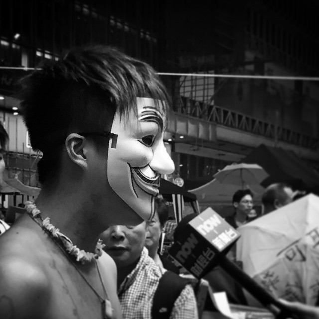 The #OccupyHK #anonymous speaks. Who is the voice of #GuyFawkes? #mono #HongKong #hk #hkig