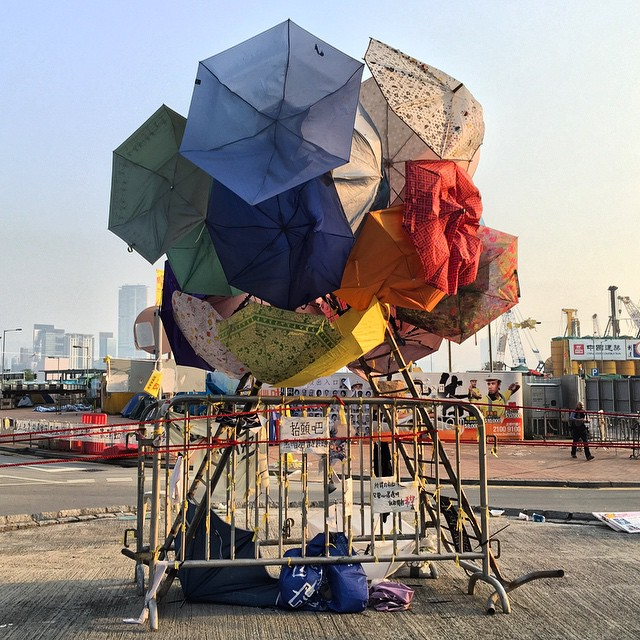 The #umbrella #bauhinia #art installation at #OccupyHK #Admiralty. It sits at the mini roundabout in front of LegCo building and CITIC tower. Given that's the govts clearance area today, I wonder if it will still exist tomorrow. #HongKong #hk #hkig