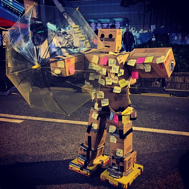 #danbooru with an #umbrella? No, a #cardboard #robot has appeared at #OccupyHK Admiralty. #HongKong #hk #hkig