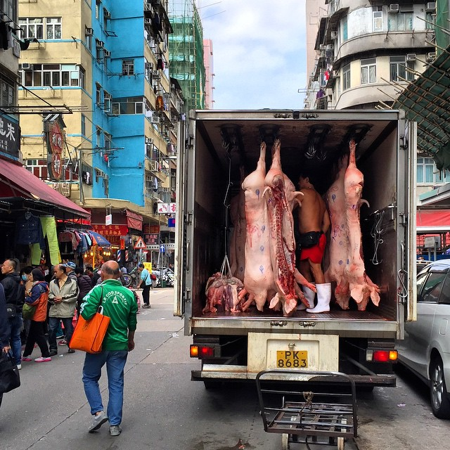 A #butchers #truck transporting #pigs (or is that #pork now?) on the #streets of #ShamShuiPo. #HongKong #hk #hkig