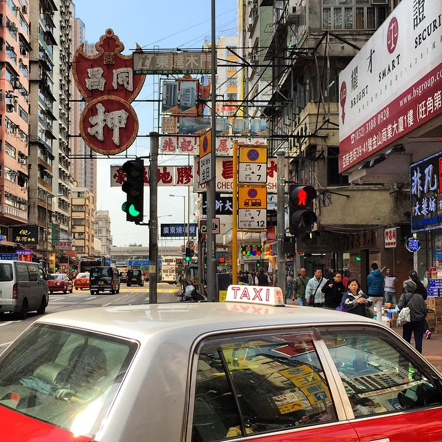 A typical #Mongkok day. A #taxi turns into a #neon sign lined street. #HongKong #hk #hkig