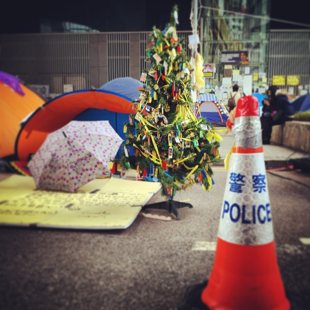 An #OccupyHK #Christmas at #Admiralty - #police cone and #ChristmasTree contrast. #HongKong #hk #hkig