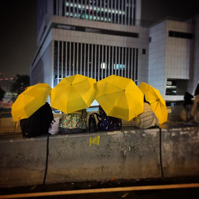 An #umbrella farewell. #YellowUmbrella's gather on #HarcourtRoad at #OccupyHK #Admiralty for the last night. #HongKong #hk #hkig