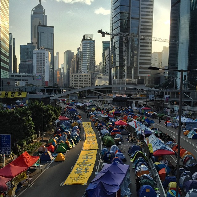 As the final days of #OccupyHK #Admiralty approaches, a huge #UmbrellaMovement banner has appeared on #HarcourtRoad. #HongKong #hk #hkig