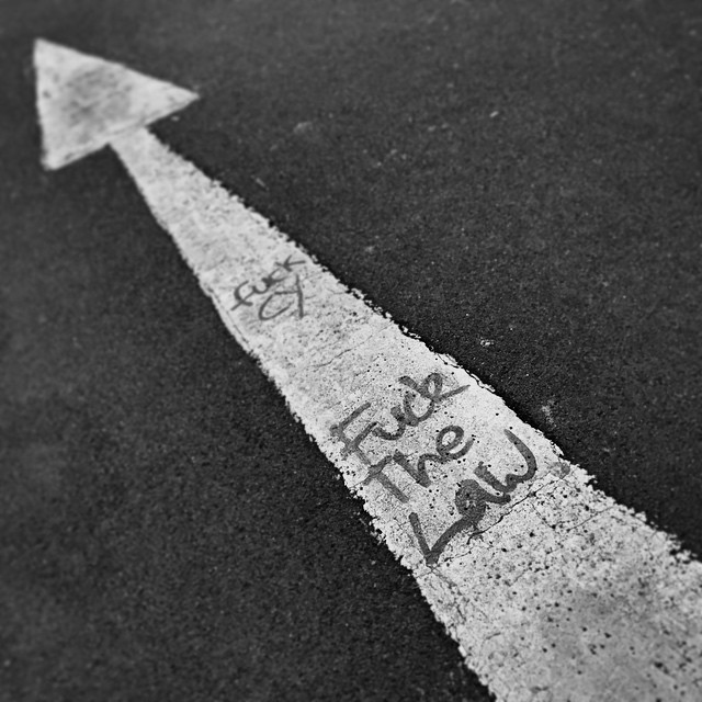 #FuckTheLaw - scribbled on a #street arrow at #OccupyHK #Admiralty. This would make a great album cover. #HongKong #hk #hkig #mono
