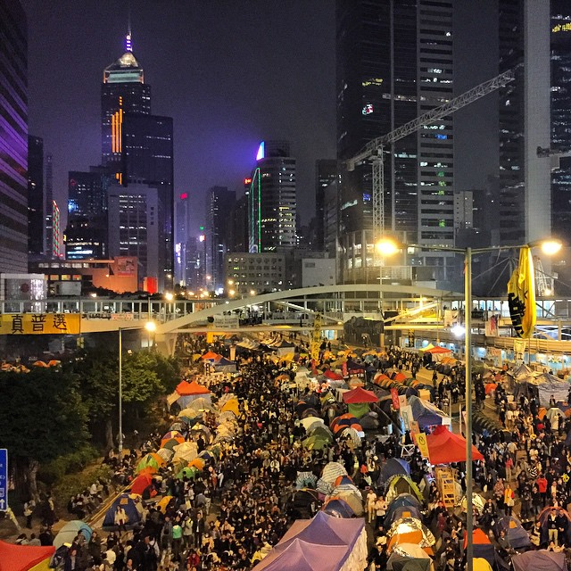 It's the last night of #OccupyHK #Admiralty (the clearout is tomorrow) and thousands are out on #HarcourtRoad for the last hurrah. #HongKong #hk #hkig #UmbrellaMovement #UmbrellaRevolution