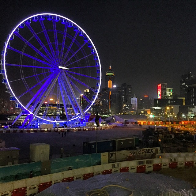 The #Central #HongKong #FerrisWheel is all lit up. Unfortunately the foreground is all construction stuff. #HK #hkig