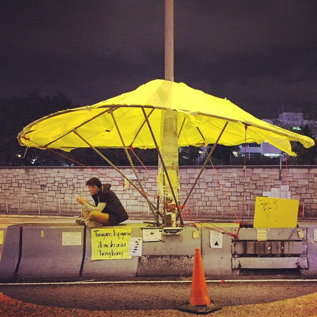 Under a #YellowUmbrella - at #OccupyHK #Admiralty. This route is expected to be cleared next week. #HongKong #hk #hkig