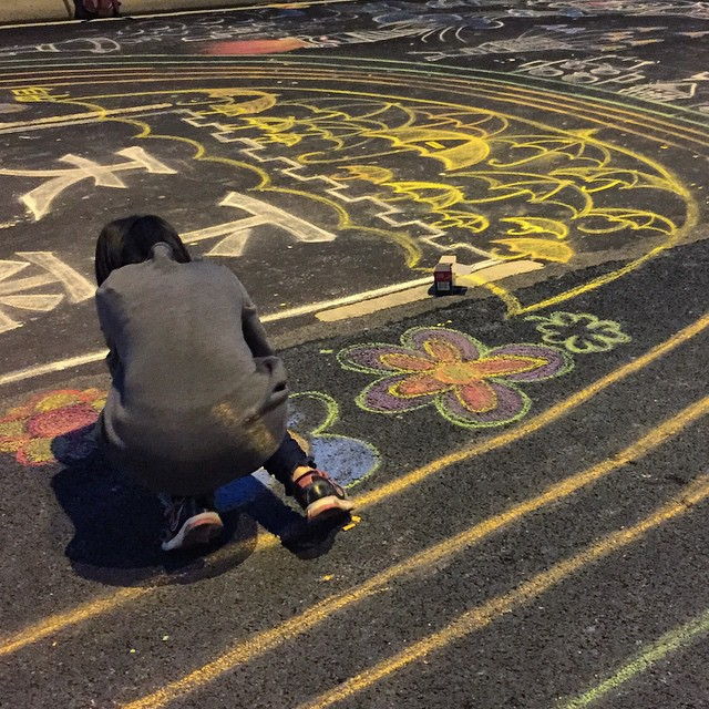 #chalk #artist at work on a final piece of chalk #art on #HarcourtRoad at #OccupyHK #Admiralty. #HongKong #hk #hkig